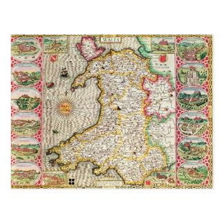 País de Gales, grabado por Jodocus Hondius Tarjeta Postal