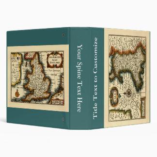 """País de Gales - mapa del siglo XVII histórico de Carpeta 1 1/2"""""""