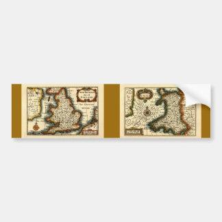 País de Gales - mapa del siglo XVII histórico de P Etiqueta De Parachoque