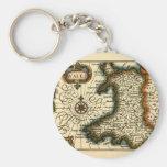 País de Gales - mapa del siglo XVII histórico de P Llavero