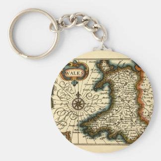 País de Gales - mapa del siglo XVII histórico de P Llavero Redondo Tipo Pin