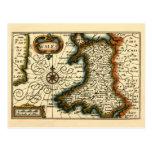 País de Gales - mapa del siglo XVII histórico de P Tarjeta Postal