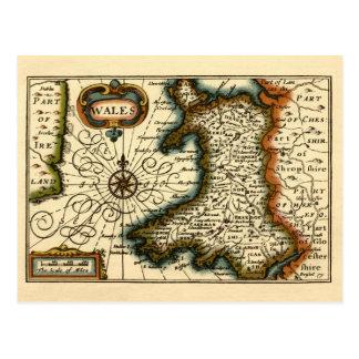 País de Gales - mapa del siglo XVII histórico de Tarjeta Postal