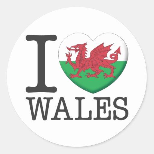 País de Gales Pegatina Redonda