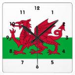 País de Gales Reloj Cuadrado