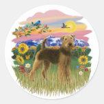 País de la montaña - Airedale (soporte) Etiquetas Redondas