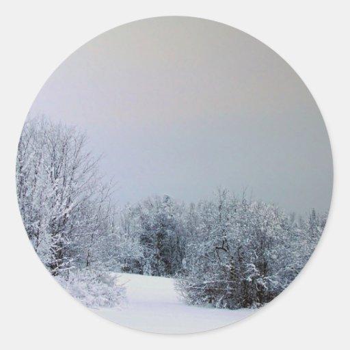 País de la nieve de Maine Etiquetas Redondas