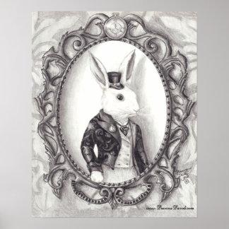 País de las maravillas blanco del arte del conejo póster
