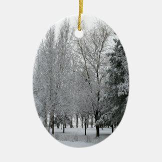 País de las maravillas del blanco del árbol adorno navideño ovalado de cerámica