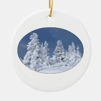 País de las maravillas del invierno adorno navideño redondo de cerámica