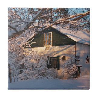 País de las maravillas del invierno azulejo cuadrado pequeño