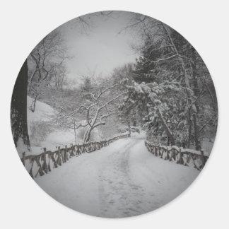 País de las maravillas del invierno, Central Park, Pegatina Redonda