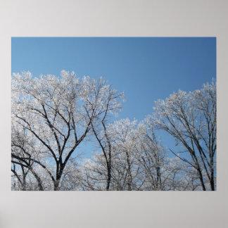 País de las maravillas del invierno con los árbole póster
