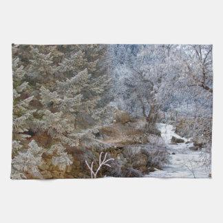 País de las maravillas del invierno de la cala de toalla de mano