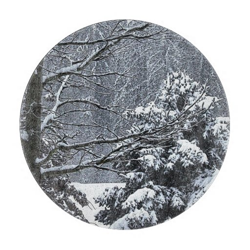 País de las maravillas del invierno de los árboles tablas para cortar