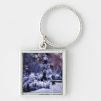 País de las maravillas del invierno del bosque Nev Llaveros Personalizados