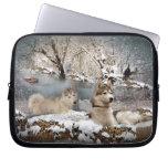 País de las maravillas del invierno del husky sibe fundas portátiles