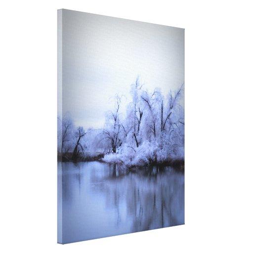 País de las maravillas del invierno del sauce impresión en lienzo estirada