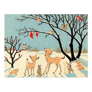 País de las maravillas del invierno del vintage tarjetas postales