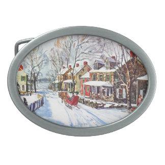 País de las maravillas del invierno hebilla de cinturón oval