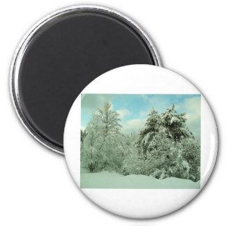 País de las maravillas del invierno imán redondo 5 cm