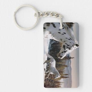 País de las maravillas del invierno llavero rectangular acrílico a doble cara