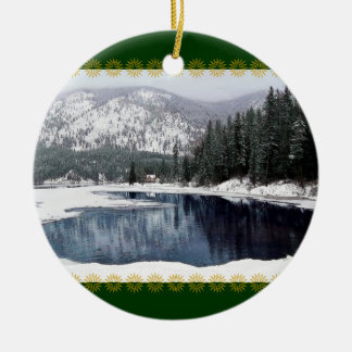 País de las maravillas del invierno, ornamento del adorno navideño redondo de cerámica