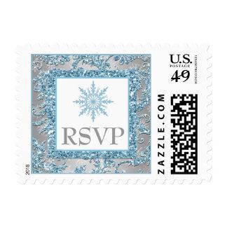 País de las maravillas del invierno que casa el sellos postales