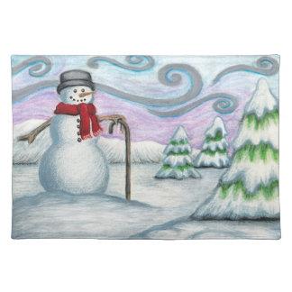 País de las maravillas feliz Placemat del invierno Manteles