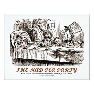 País de las maravillas la fiesta del té enojada invitación 10,8 x 13,9 cm