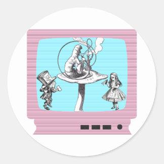 País de las maravillas retro TV Pegatina Redonda