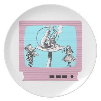 País de las maravillas retro TV Plato De Cena