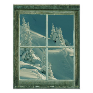 País de las maravillas rústico de la ventana del i póster