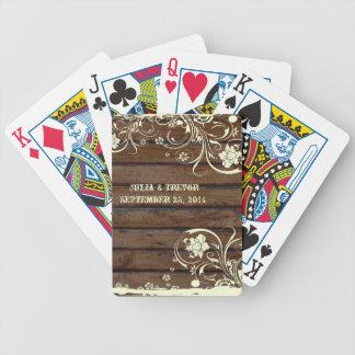 País de madera oscuro personalizado barajas de cartas