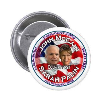 País de McCain Palin primero Pins