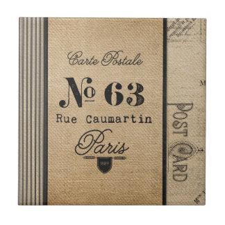 País del francés del franqueo del vintage de la azulejo cuadrado pequeño
