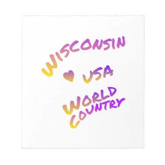 País del mundo de Wisconsin los E.E.U.U., arte Bloc De Notas