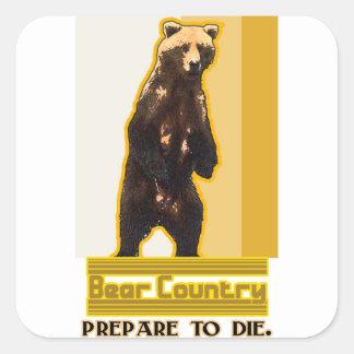 País del oso pegatina cuadrada