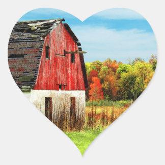 País del otoño pegatina en forma de corazón