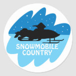 País del Snowmobile Etiquetas Redondas