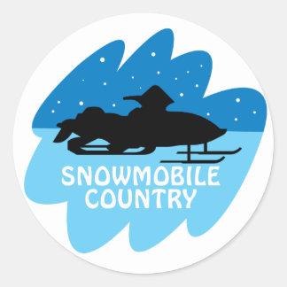 País del Snowmobile Pegatina Redonda