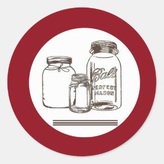 país del tarro de albañil del sello de 20 - 1,5 pegatina redonda