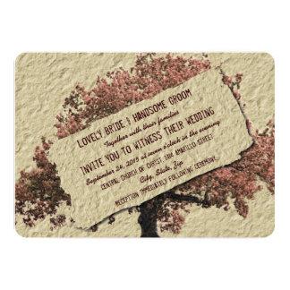 País del vintage del árbol de amor subió casando invitación 12,7 x 17,8 cm