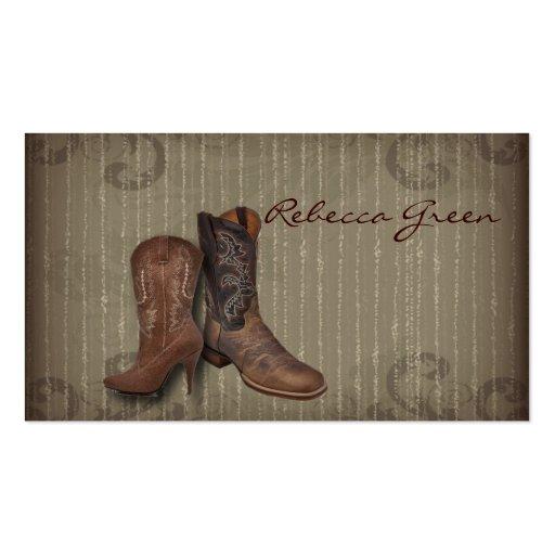 país elegante de las botas de vaquero del vintage tarjetas de visita
