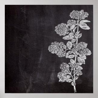 país francés floral de la pizarra elegante póster
