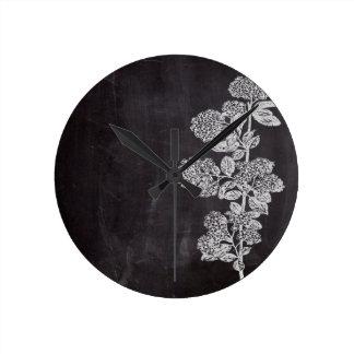 país francés floral de la pizarra elegante reloj redondo mediano