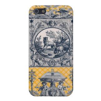 País francés neoclásico Toile azul y amarillo iPhone 5 Coberturas