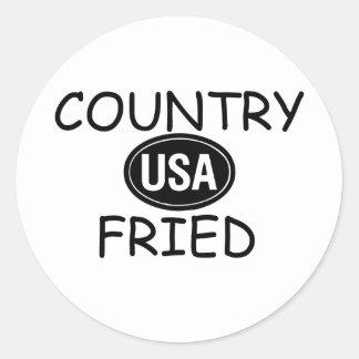 País frito pegatina redonda