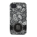 País Negro fresco Paisley con la etiqueta conocida iPhone 4 Carcasa