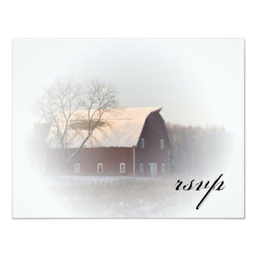 País nevado del invierno del granero que casa RSVP Invitación 10,8 X 13,9 Cm